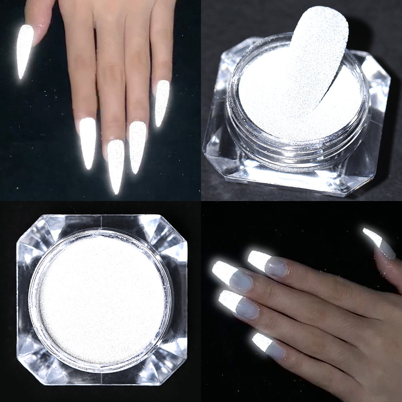 Nail Powder Glitter Grey White Dazzing Party Pigment Nail Art DIY Decoration For Nail