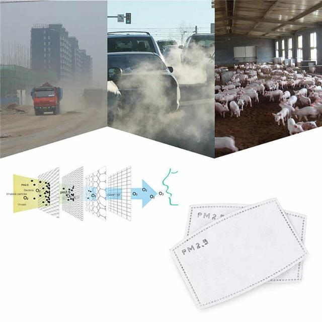 25PC Mask Gasket PM2.5 Face Mask 5 Filter Pad Anti-flu Activated Carbon Breathing Filters Protect the respiratory 3