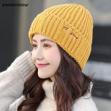 [DINGDNSHOW] 2019 Winter Cap Skullies Cotton Beanies Hat Letters Bonnet Knitted Women