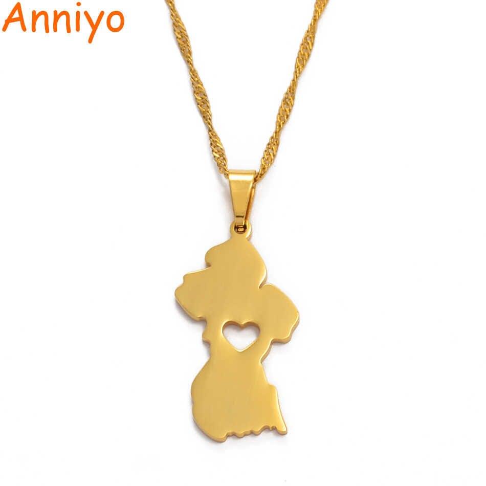 Anniyo mapa gujany naszyjnik kobiety/mężczyźni złoty kolor Guayana biżuteria republika gujany #006221