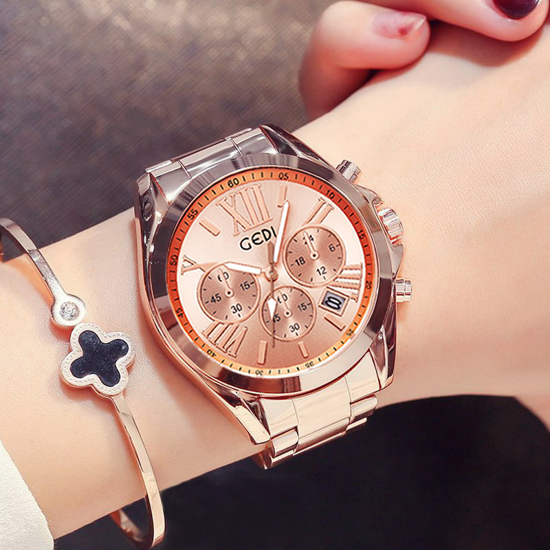 Luxury Rose Gold Women Casual Watch Waterproof Calendar Unique Quartz Business Dress Watches for Female Golden Lady Clock 2