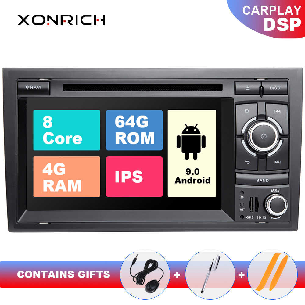 "7 ""ips dsp 4g 64g 2 din android 9 gps autoradio multimídia para audi a4 b8 b6 b7 s4 b7 b6 rs4 b7 assento exeo navegação dvd player"