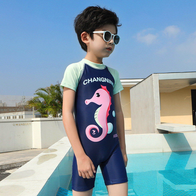 Children One-piece Half Sleeve Ban Ku Bathing Suit Girls Baby Swimwear Big Boy Bubble Hot Spring Boxer South Korea Swimwear