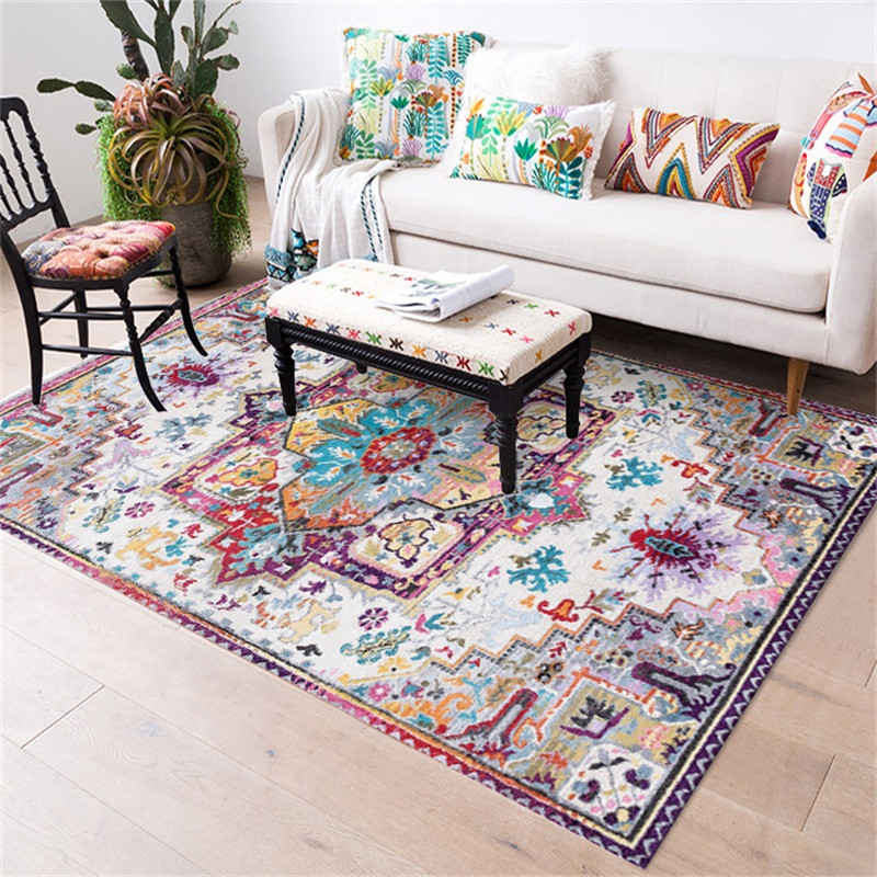 Flower Carpets Persian Vintage Morocco Anti-Skid Jacquard Carpet For Living Room Bedroom Floor Mat Non-Slip Area Rugs Absorbent