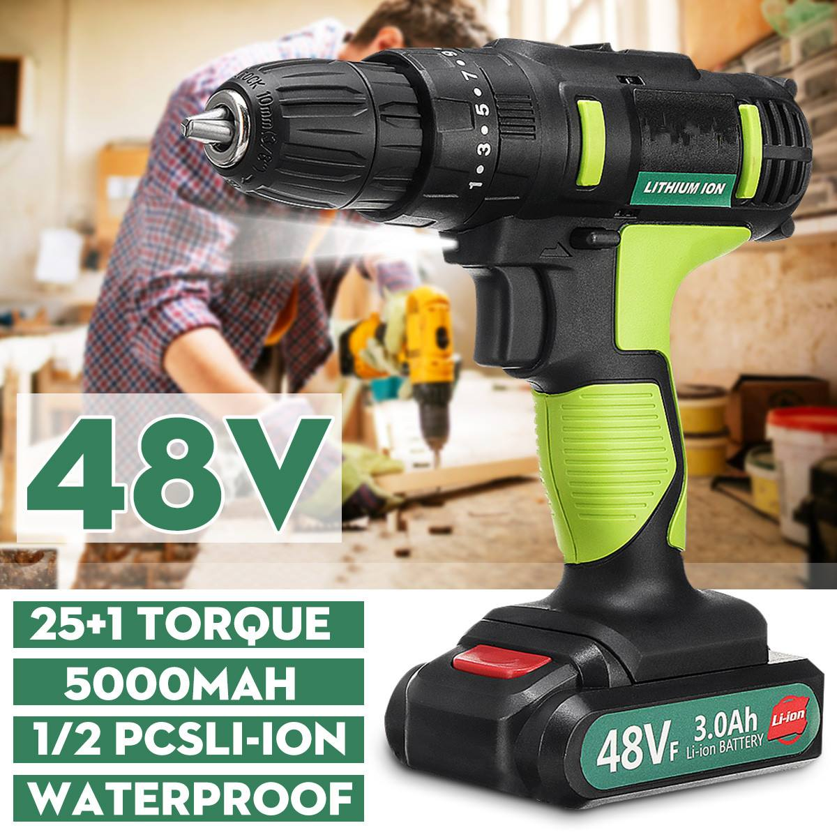 3 In 1 Electric Screwdriver 48VF 2-Speed Cordless Waterproof Electric Drill 25+1 Torque Power Tools With Rechargeable Battery