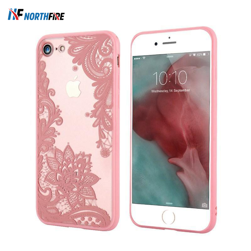 NORTHFIRE Lace Flower Phone Case For iphone 6S 6 8 XR X <font><b>7</b></font> <font><b>Sexy</b></font> Case For iphone 5 5s SE XSMAX 7plus 8plus Cover Coque Women Girl image