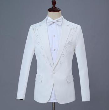 White Blazer men Sequin suit set with pants mens wedding suits costume singer star style stage clothing formal dress
