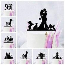 Decoração de bolo acrílico para adultos, brinquedo de festa para casamento, cachorro, gato, sr., noiva, noiva, preto, acrílico, suprimentos para adultos
