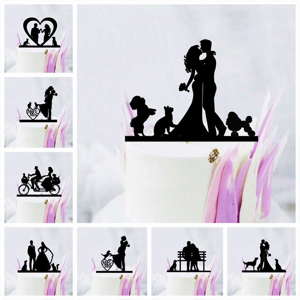 Pet Dog <font><b>Cat</b></font> Wedding <font><b>Cake</b></font> <font><b>Topper</b></font> Mr Mrs Bride Groom Acrylic <font><b>Black</b></font> <font><b>Cake</b></font> <font><b>Toppers</b></font> Decoration Mariage Party Supplies Adult Favors image
