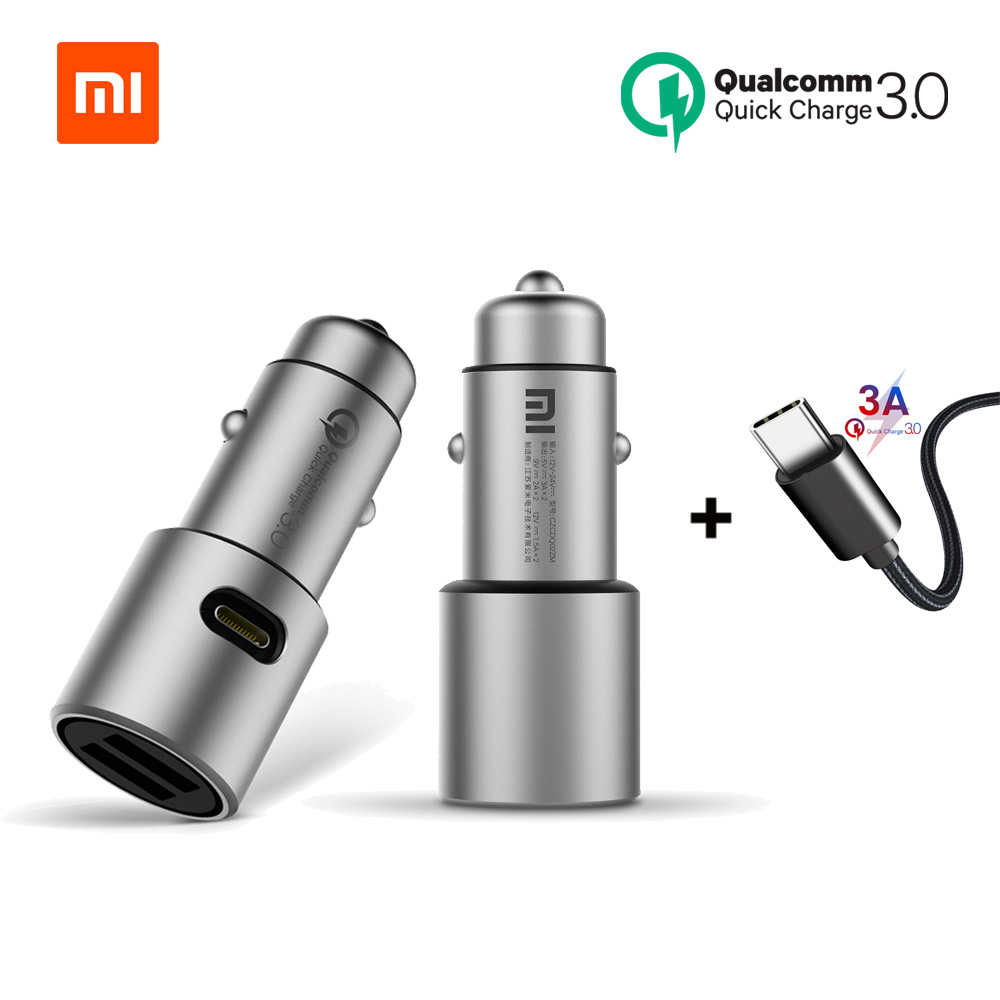 Xiaomi Car Charger Original Xiao Mi Car Charger QC 3.0 Dual USB Quick Charge Max 5V/3A 37w For iPhone Samsung Huawei oppo vivo