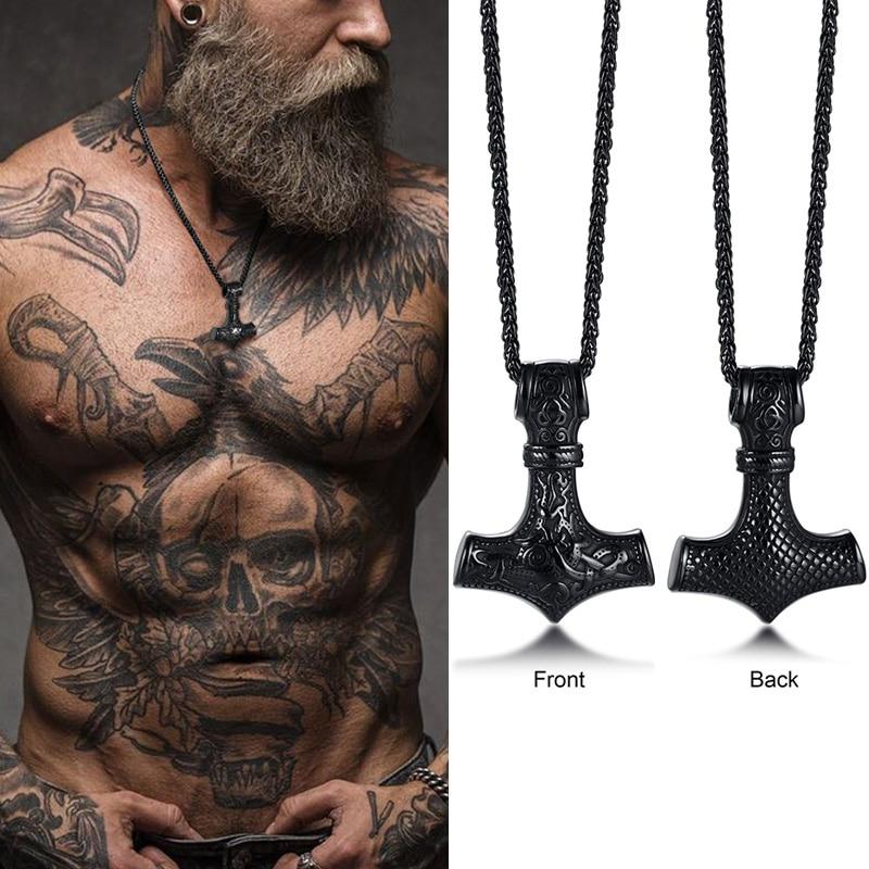 Mjolnir o martelo de thor nórdico símbolo pagão pingente colar de aço inoxidável dupla face dragão design viking jóias