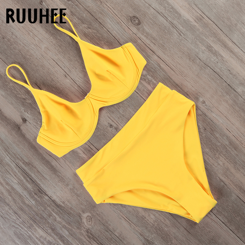 RUUHEE Bikini 2020 Swimwear Women Swimsuit Solid High Waist Bikini Set Bathing Suit Women Beachwear Underwire Swimming Suit