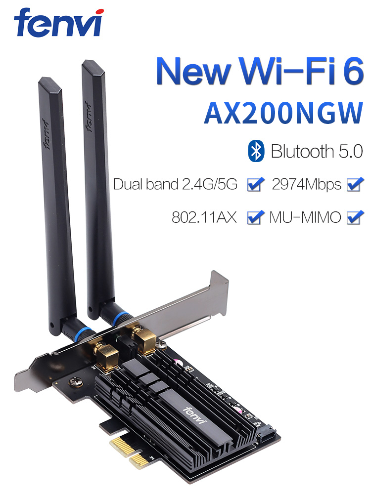 Wifi-Adapter PC Pcie Ax200ngw-Card Desktop Dual-Band 2974mbps Bluetooth 5.0 6-Intel Wireless
