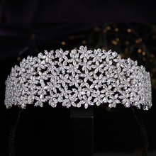 Floral Cubic Zirconia Sweet 16 Quinceanera Flowers Crystal Headband CZ Wedding Bridal Tiaras Pageant Hair Jewelry Accessories