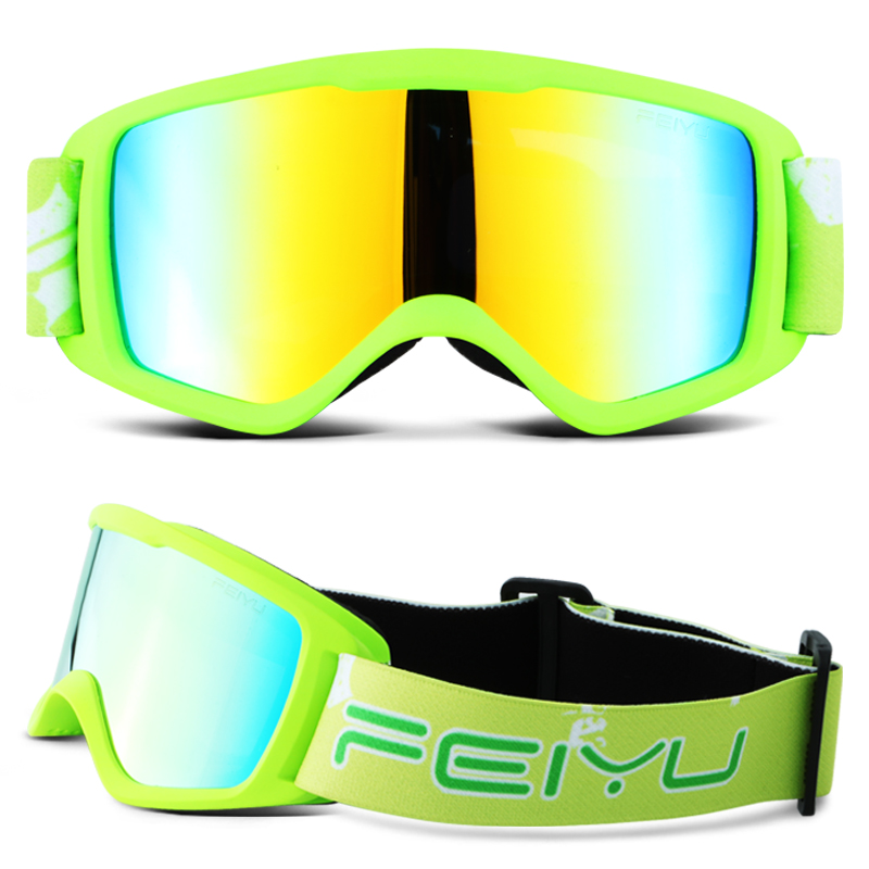 Kids Professional Ski Goggles Lens UV400 Anti-fog Sun Proof Skiiing Glasses Snow Snowboarding Eyewear Gafas Boys Girls Child