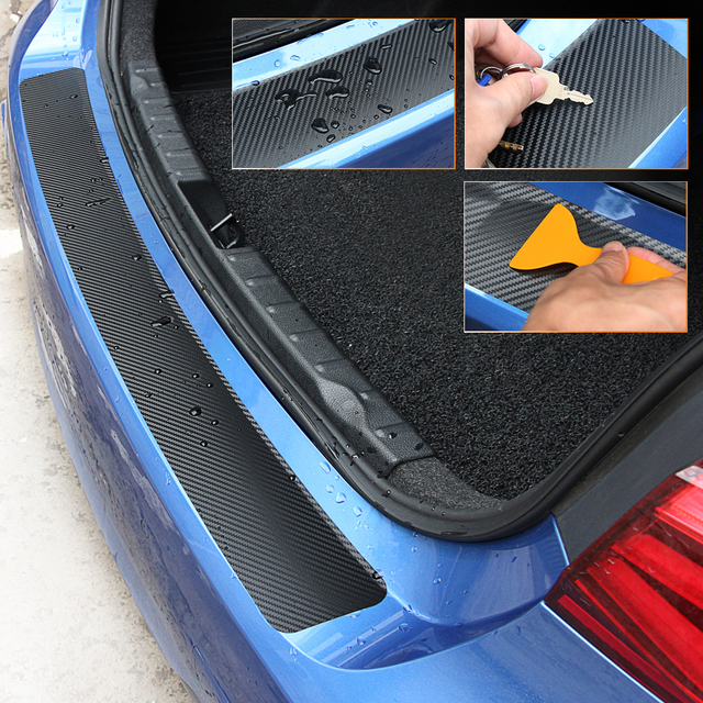 Car Trunk Door Sill Plate Rear Bumper Guard Protector Rubber Pad Durable Protective Self adhesive Car Rear Bumper Protector Set