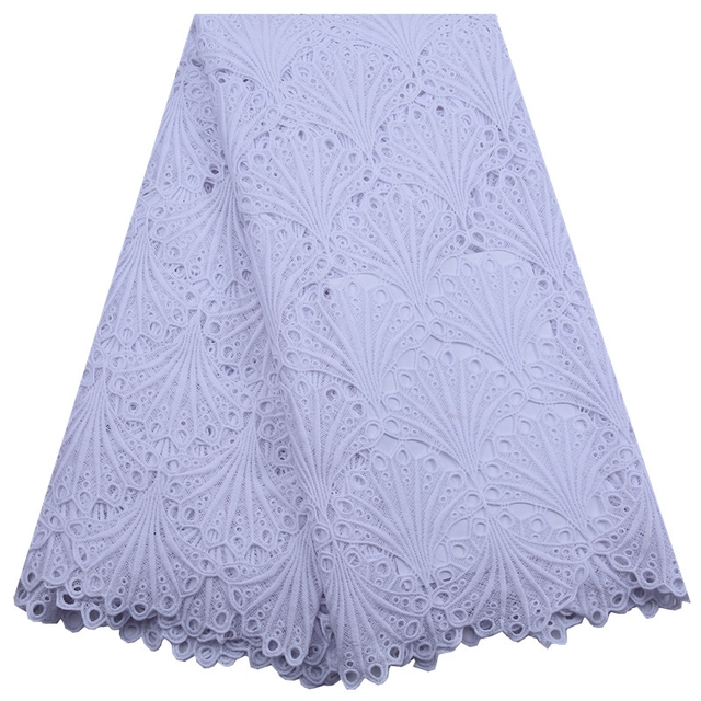 African Pure White Guipure Lace Fabric 2020 High Quality Nigerian Cord Lace Fabric France Water Soluble Lace For Wedding Dress 1