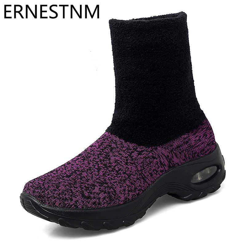 ERNESTNM ถักถุงเท้ารองเท้าผู้หญิงฤดูหนาวรองเท้าผ้าใบรองเท้าลำลองรองเท้าข้อเท้ารองเท้าผู้หญิง Plush ยางรองเท้าแพลตฟอร์ม Chunky