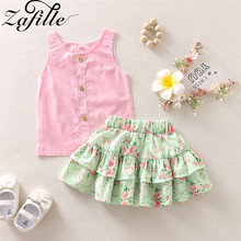 baby girls boutique clothing girls kid back to school outfits girls car camper school clothing with pink ruffle shorts with bows ZAFILLE Girls Summer Clothes 2Pcs Baby Outfits Sets Sleeveless Clothes For Girls Flower Printed Skirt Girls Clothing Kid Clothes