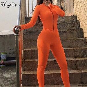 Image 4 - Hugcitar 2019 긴 소매 지퍼 업 bodycon 탑스 레깅스 2 2 개 세트 가을 겨울 여성 패션 streetwear 핑크 티셔츠 tra