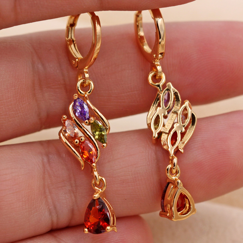 H399209ca7e954960b57a77222874d3136 - Trendy Vintage Drop Earrings For Women Gold Filled  Red Green Pink Lavender Zircon Earrings Gold  Earring Wedding  Jewelry