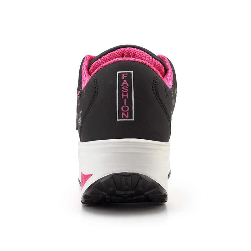 Schuhe frau 2019 pu leder atmungsaktiv sneakers frauen schuhe wasserdicht keile plattform shoesladies casual schuhe frauen turnschuhe