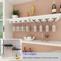 high quality Wood Wine Racks Hanging Glass Shelf Wall Hanging Vino Holders Wine Cabinet Top Upside Down Cups Rack Dual Use