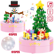Mini Blocks DIY Santa Claus Xmas tree snowman building bricks with music lights Educational Toys for Children Christmas Gift