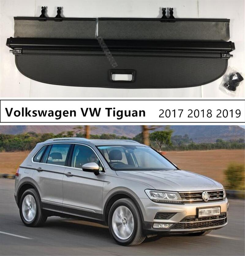 For Volkswagen VW <font><b>Tiguan</b></font> 2017 2018 <font><b>2019</b></font> Rear Trunk Cargo Cover Security Shield High Qualit Auto Accessories Black Beige image