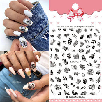 1 Sheet Summer Leaf 3D Sticker Green Decals for Nail Slider Flower Black Purple Design Adhesive DIY Nail Polish Sticker