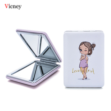 Vicney Girl Portable Mini Cartoon Makeup Mirrors Compact Pocket Floral Mirror Two-Side Folding Make Up Cosmetic Tool