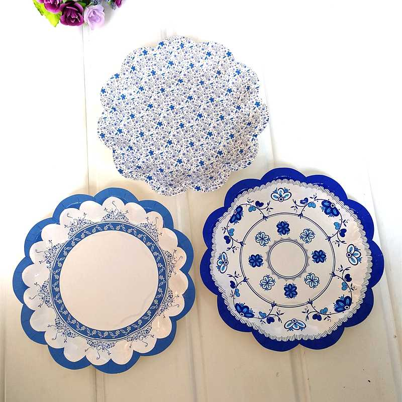 8 шт., китайский стиль, синяя и белая бумага имитирующая фарфор, тарелка, Ретро стиль, одноразовые вечерние тарелки, салфетка, свадебное блюдо, праздничные тарелки