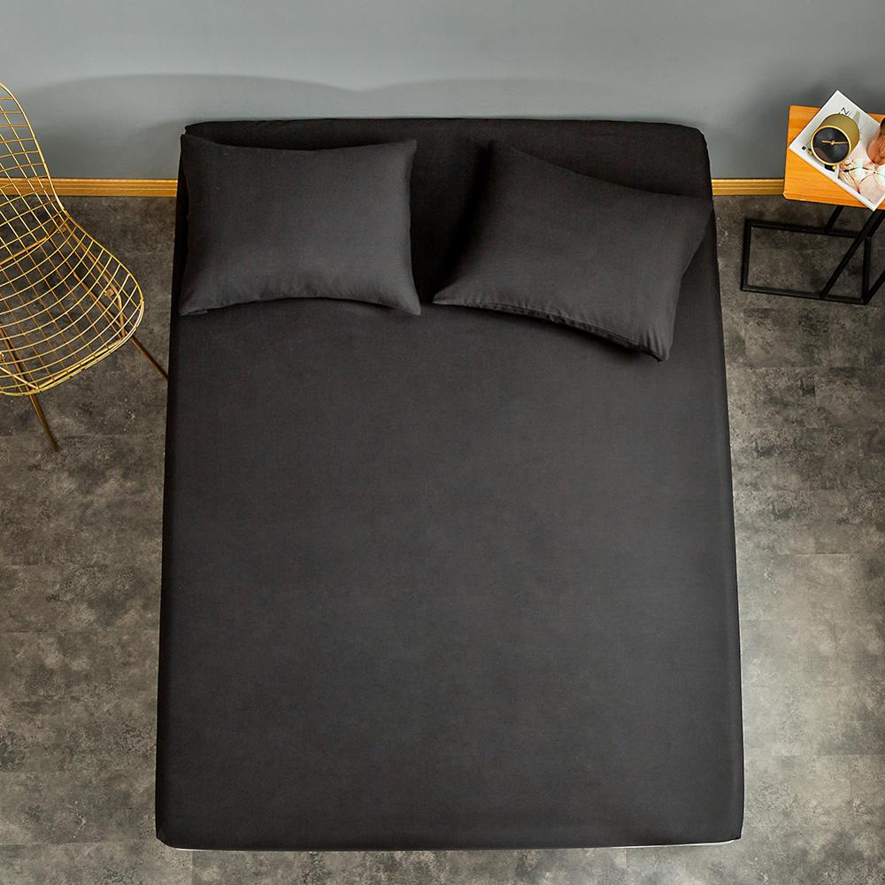 1 pc Fitted Sheet with Elastic Black Color Queen Size Bed Sheets Set sabanas Double Bed Linen 200x220