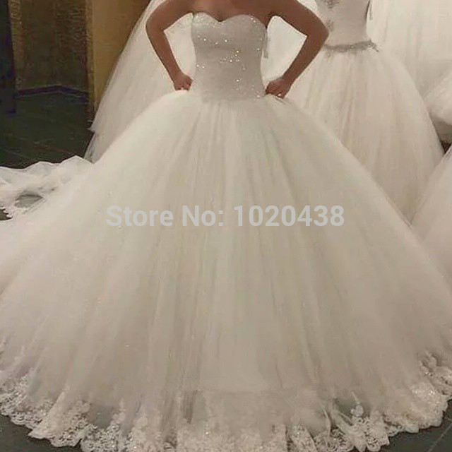 Vestido De Noiva 2018 Romantic Crystal Beaded Sweetheart Tulle Lace Bridal Ball Gown Robe De Mariage Mother Of The Bride Dresses