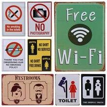 Wc Kostenloser Wifi Toilette Kein Rauchen Vintage Metall Zeichen Poster Plaque Zinn Zeichen Eisen Kunst Pub Club Toilette Deco