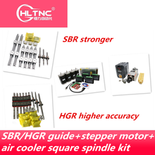 משלוח חינם ליניארי מדריך HGR15/HGR20/SBR16/SBR20 + כדור בורג SFU1605/1610 + Nema23 צעד מנוע ערכת + ציר ערכת עבור cnc נתב