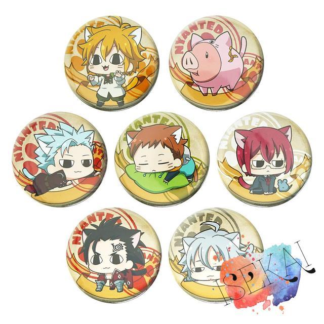 Les sept péchés capitaux Anime Badge Meliodas Ban roi Gowther Nanatsu no Taizai métal Badge broche broches Neko chat Ver.