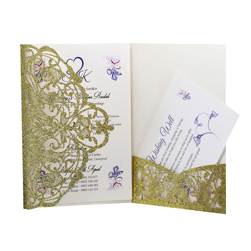 50 pieces/lot Gold Glitter Lacer cutting Invitation cards, Wedding invitation card, party with Free RSVP card