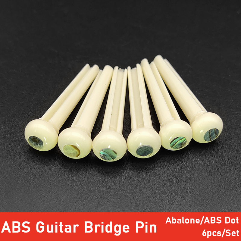 6pcs Plastic Guitar Bridge Pins With Colourful Abalone Shell Dots ABS Guitar Parts Accessories Ivory Black
