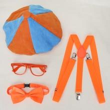 Комплект детской одежды Blippi 4 шт./компл., аксессуар для косплея, шляпа, очки, бабочка и подтяжки для дня рождения, аксессуары для детей Blippi