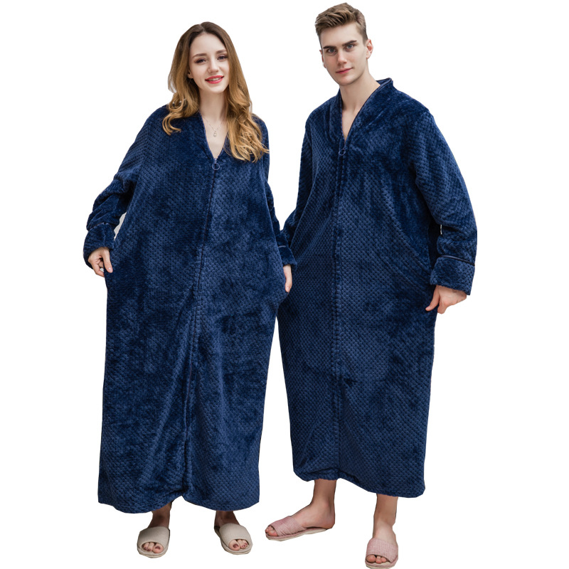 Women Autumn&winter New Zipper Shellfish Velvet Bathrobe Plus Increase Nightgown Men Thickening Pajamas Flannel Home Service