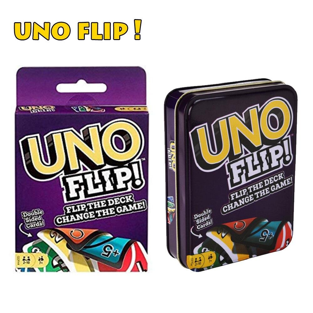 UNO Flip! Mattel игры Семья забавные удовольствие от игры в покер многопользовательский игральных карт детские игрушки Подарочная жестяная короб...