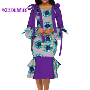 Fashion Women African Dress V-neck Long Sleeve African Print Dresses with Bow Women Evening Party Vestidos Ankara Dress WY6017