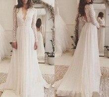 African Boho Plus vestido de noiva Wedding Dresses Long Sleeves V-neck Lace Appliques Dress Bridal Gown Custom