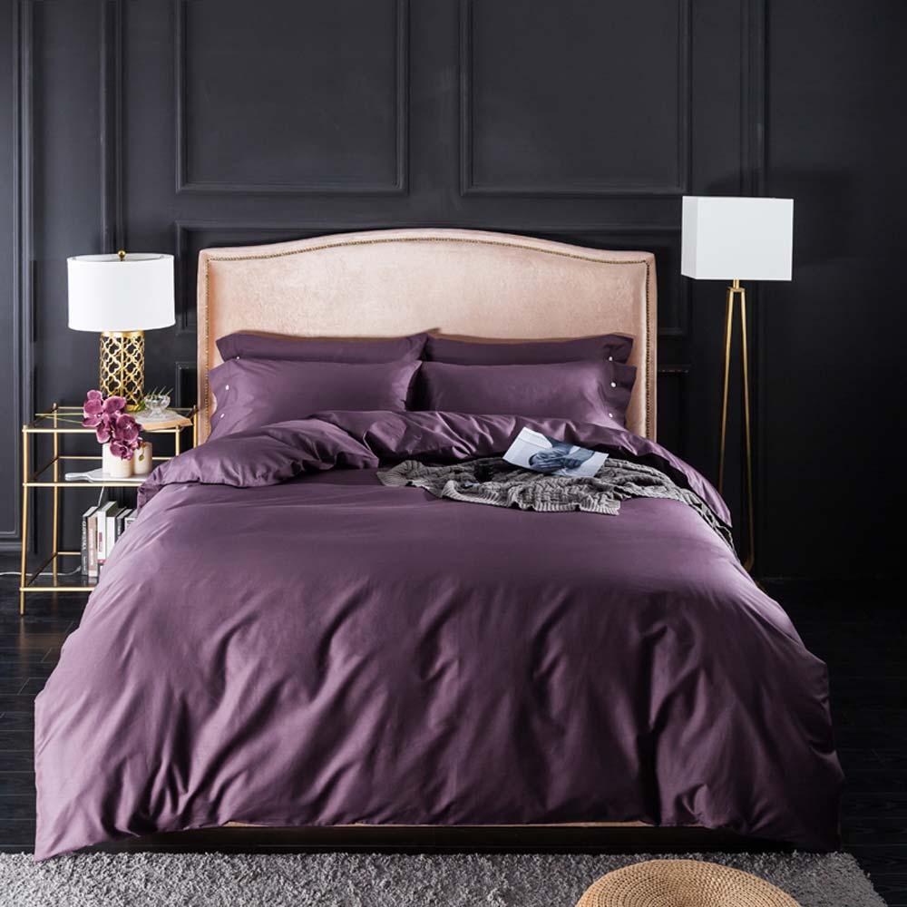 Svetanya Nordic Purple Egyptian Cotton Bedlinens Twin Queen King Size Family Set Duvet Cover Set Bedding Bedspread