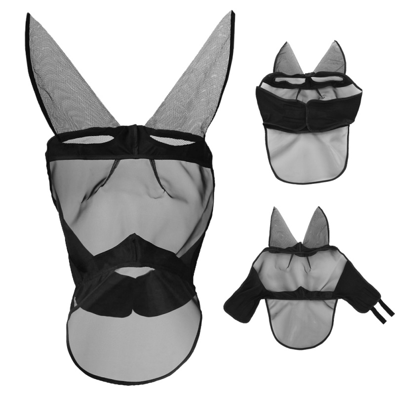 Anti-mosquito Horse Mask Horse Flying Mask Breathable Comfort Equestrian Supplies Horse Mask Removable Mesh New Arrival