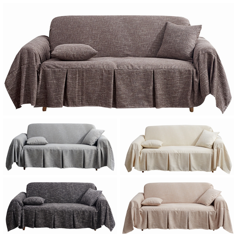 10 Colors Luxury Linen Sofa Cover 123 Seater Couch Covers Modern Style For I/L Shaped Sofas Corner Couch Protector