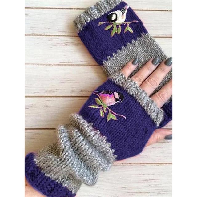 Women Stylish Hand Warmer Winter Gloves Arm Crochet Knitting Faux Wool Flowers Mitten Warm Fingerless Glove Gants Femme #W3 2