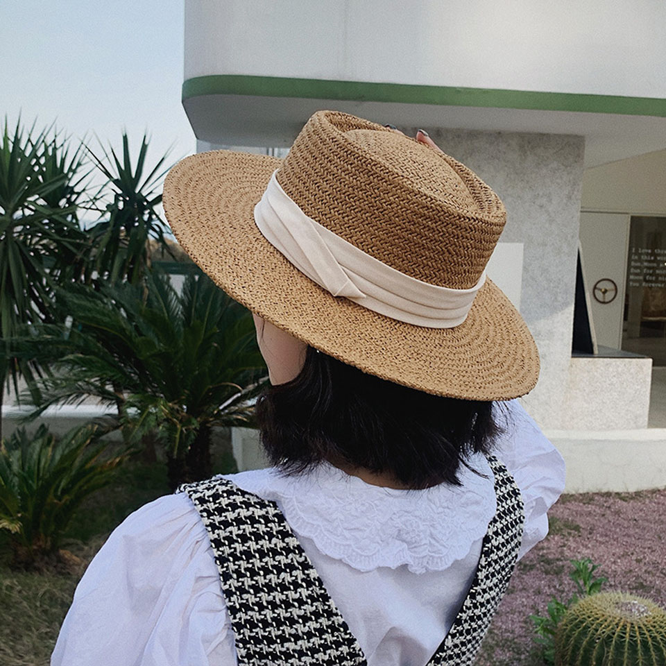 Casual Handmade Straw Beach Hat For Women Summer Holiday Panama Cap Man's Fashion Ribbon Concave Flat Sun Protection Visor Hat