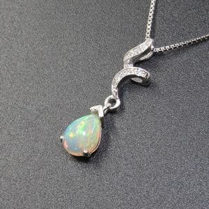 Image 4 - 925 silver opal pendant for woman 6 mm * 8 mm pear cut natural Australia opal gemstone pendant sterling silver opal jewelry